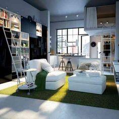 décoration de studio moderne et lit avec mezzanine pour adulte