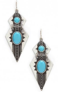 Turquoise Etched Dagger Earrings