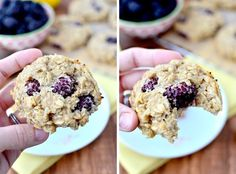 Lemon Blackberry Breakfast Cookies (Gluten, Egg, and Dairy-Free) + Why I'm Going Gluten Free - Iowa Girl Eats; has a banana substitution in comments Oatmeal Breakfast Bars, Clean Breakfast, Breakfast Items, Breakfast Cookies, Breakfast Recipes, Dairy Free Recipes, Gluten Free, Dairy Free Breakfasts, Healthy Treats
