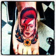 Luke Kempton @ New Skool Tattoos, Ewell, UK put Bowie on my foot and I bloody…