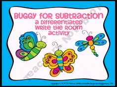 Buggy for Subtraction-A Differentiated Write The Room Activity - Differentiated Kindergarten Differentiated Kindergarten, Kindergarten Classroom, Classroom Ideas, Subtraction Activities, Math Activities, Activity Centers, Literacy Centers, Math Writing, Addition And Subtraction