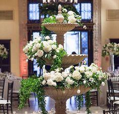 Fountain flowers by Shawna Yamamoto Red Rose Wedding, Floral Wedding, Wedding Flowers, Garden Water Fountains, Fountain Garden, Wedding Centerpieces, Wedding Decorations, Wedding Ideas, Alter Flowers