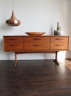 Heck with the pendant...I must have the sideboard!!! (Danish Orient Pendant Light by Jo Hammerborg 1960s)