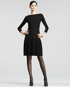 Ralph Lauren Collection Pleated-Skirt Knit Dress