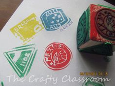 homemade stamps for stamping a pretend passport (geography studies)