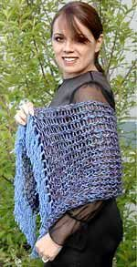 Simple Elegance loom knit shawl. Variation: wrap the next 3 and skip the next peg, repeat pattern across all the pegs.