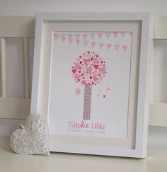 personalised birth date hearts tree print by little van goghs | notonthehighstreet.com