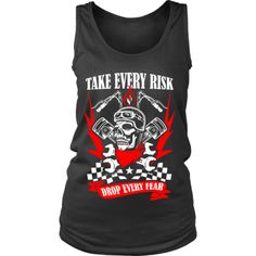Motorcycle - 'Take Evey Risk' District Women's Tank Cave, Tank Man, Motorcycle, Tank Tops, Tees, T Shirt, Collection, Fashion, Supreme T Shirt