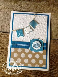 Stampin' Up! Banner Blast stamp set, Label Love stamp set, Banner punch, Artisan Label punch, Scallop Circle punch and Decorative Dots embossing folder...By Atelier Negen