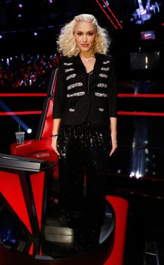 Sequin Love from Gwen Stefani's The Voice Looks  In sequin pants and sequin covered sweater.
