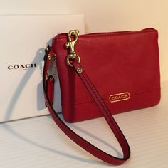 "NWT Coach Leather Wristlet - Red Gorgeous!!  New with tags and comes with Coach gift box.  True Red. All leather.  Measures 6.25"" x 4.25"".  No trades. Price is firm. Coach Bags Clutches & Wristlets"