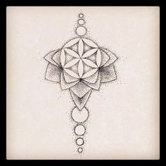 Underboob flower of life dotwork mandala tattoo design by @rebekkarekkless on Instagram.