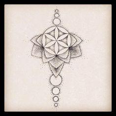 Underboob flower of life dotwork mandala tattoo design by @rebekkarekkless on Instagram.