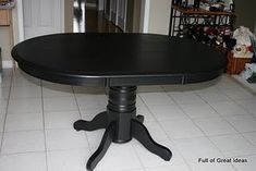 Ideas Kitchen Table And Chairs Makeover Pottery Barn Kitchen Table Oak, Black Kitchen Table, Kitchen Table Redo, Painted Table, Kitchen Table Centerpiece, Dining Table Black, Table Makeover, Kitchen Table Makeover, Diy Kitchen Table