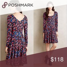 """🚨1 HR SALE🚨Anthropologie HD in Paris Dress Brand new with tags attached HD in Paris for Anthropologie. This dress is pullover style with a bold graphic print. It's long-sleeved and skater style. Rayon, nylon, and spandex. Length is 35.5"""" from shoulder to hem. Flat bust measurement pit-to-pit is 15"""". Dress has stretch to it because of the spandex. Anthropologie Dresses"""