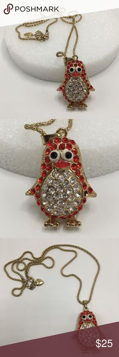 """Betsey Johnson penguin 🐧 gold necklace crystal Betsey Johnson penguin 🐧 necklace pendant ❤️  gold with red and clear crystals chain is 30"""" total length one crystal missing ( see side photo ) otherwise great condition Betsey Johnson Jewelry Necklaces"""