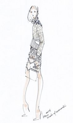 Fashion illustration - fashion sketch from the womenswear AW14 collection; fashion drawing // Brandon Sun