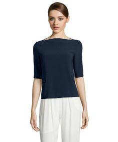 Theory navy admiral crepe 'Jorane' half sleeve blouse