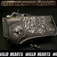 Leather Biker Wallet/Pirates/Skull carving/WILD HEARTS Leather Chain, Leather Tooling, Leather Wallet, Biker Gear, Motorcycle Gear, Carved Skulls, Leather Gifts, Wallet Chain, Wild Hearts