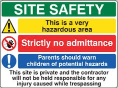 Site Safety Sign image Site Sign, Sign Image, No Response, Hold On, Safety, Construction, Signs, Security Guard, Building