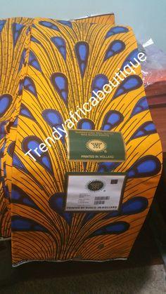 Yellow/blue electric bulbs African cotton wax print fabrics. 100% cotton. Sold per 6yds.