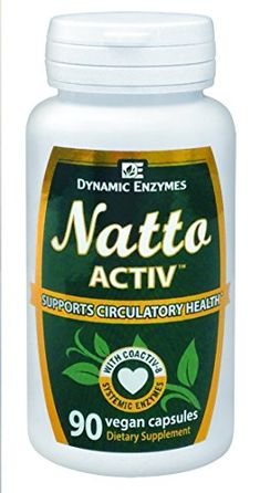 Natto ACTIV - 90 Vegan Capsules - Supports Cardiovascular Health - High Quality Nattokinase - Promotes Normal Blood Coagulation - Systemic Enzymes - Dynamic Enzymes - 100% SATISFACTION GUARANTEED