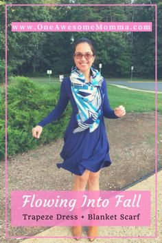 Trapeze dress with blanket scarf and ankle boots is another outfit idea for fall. Click on the image to learn more.