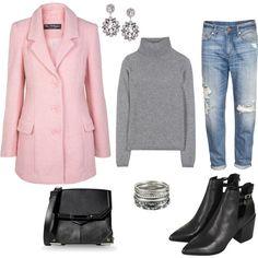 """powder pink coat"" by kasia-malina on Polyvore"