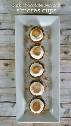 Summer Dessert Ideas :: dark chocolate sea salt s'mores cups, so delicious, no campfire needed!