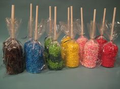Double marshmallow pops.  Dip in white chocolate and coat with sprinkles.