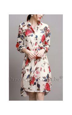 e9006f84b3 Vestido Curto Casual Estampa de Rosas Rochelle