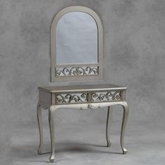 Silver vintage fretted french dressing table and mirror set - Buy Now at Scoutabout Interiors