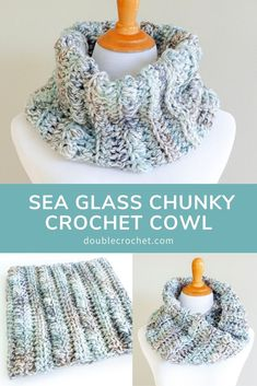 Sea Glass Chunky Crochet Cowl – Double Crochet The Effective Pictures We Offer You About Crochet projects A quality picture can tell you many things. Crochet Cowl Free Pattern, Basic Crochet Stitches, Crochet Basics, Easy Crochet Patterns, Knitting Patterns, Cowl Patterns, Knitting Tutorials, Loom Knitting, Knitting Needles
