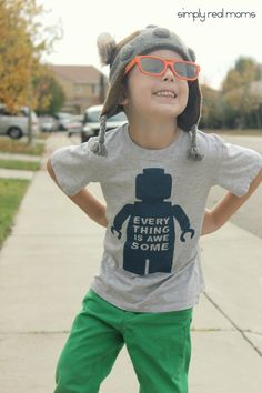 Simply Made: DIY Everything Is Awesome Lego Movie T Shirt. Comes with a free template!