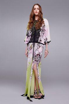 Long Kimono Floral silk kaftan - Ready to wear - Preview FW 2016 - Woman | Roberto Cavalli United States