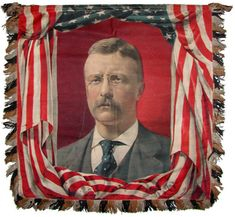 Theodore Roosevelt & William McKinley Patriotic portrait campaign banner, Election of 1900
