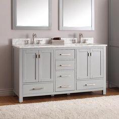 Modero Double Vanity for Rectangular Undermount Sinks - Chilled Gray - Double Sink Vanities - Bathroom Vanities - Bathroom Grey Bathroom Vanity, Zen Bathroom, Double Sink Bathroom, Small Bathroom Vanities, Double Sink Vanity, Modern Master Bathroom, Bathroom Vanity Cabinets, Grey Bathrooms, Vanity Sink