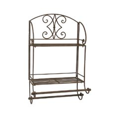 This Tuscan Wrought Iron 2 Tier Wall Shelf is extremely versatile.  Use it in a bathroom to display accessories while holding towels on the double bar or remove the bars and display collectibles in an entryway, kitchen or home office.