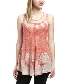 Look what I found on #zulily! Peach Embroidered Sleeveless Top by The OM Company #zulilyfinds