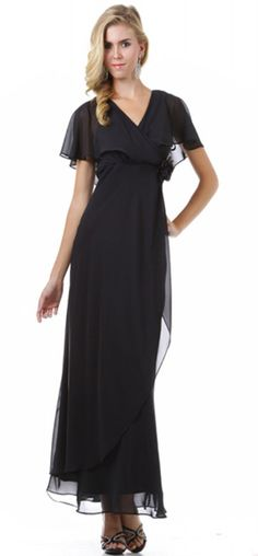 Black Prom Dresses, Long Prom Dresses, New Arrival Charming V-neck Short Sleeve Ankle Length Prom Dresses Casual Dresses