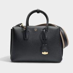 MCM Milla Medium Tote Park Avenue Bag in Black Park Avenue Leather