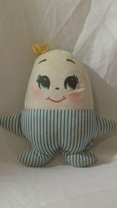GUC PLAKIE Vintage Plush Humpty Dumpty Egg Pillow Blue White Stripe Doll 60's #Plakie