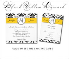 Yellow and Black Damask Wedding Invitations Collection by Designer Elke Clarke© for monogramgallery.ca