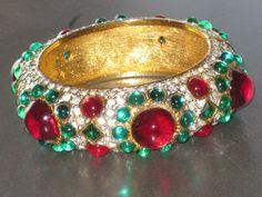 Rare Vintage Kenneth Jay Lane Hinged Cuff Jeweled by ReferToRoss, $ 250.00