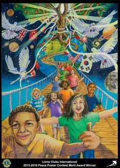 Merit Award Winner Jasmin Yoon 13 years old Virginia, USA Sponsored by Fairfax Host Lions Club Art Peace Drawing, Poster Rangoli, Peace Poster, Drawing Competition, Composition Art, Unicorn Pictures, Peace Art, Social Art, Art Competitions