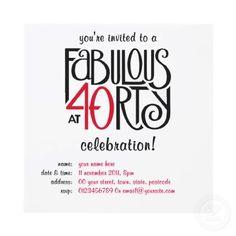 Fabulous 40 black red Birthday Invitation from Zazzle.com