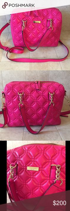 ♠️ kate spade new york ♠️ hot pink quilted bag kate spade ♠️ is the ultimate brand for sophisticated glamour. This bag is really gorgeous. It's a beautiful rich hot pink leather with straps for wearing crossbody or on the shoulder. This bag is is pristine condition. kate spade Bags