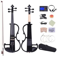 Shop best black ammoon Full Size 4/4 Solid Wood Electric Silent Violin Fiddle Style-2 Ebony Fingerboard Pegs Chin Rest Tailpiece with Bow Hard Case Tuner Headphones Rosin Extra Strings & Bridge from Tomtop.com at fast shipping. Various discounts are waiting for you!