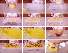 Strizziamo l'uvetta e la distribuiamo sopra la crema. Ora arrotoliamo aiutandoci con la carta forno. Con un coltello diamo forma alle girelle danesi, tagliandole di 2-3 cm. Le sistemiamo sulla placca del forno a lievitare. A me piace farle grandi, se volete farle più piccole dividete l'impasto in due e ripetete tutti i passaggi. Food And Drink, Eggs, Drinks, Breakfast, Pesto, 3, Recipes, Oven, Cream