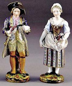 Porcelain; Petit (Jacob), Figures (2), Young Couple, 12 inch.
